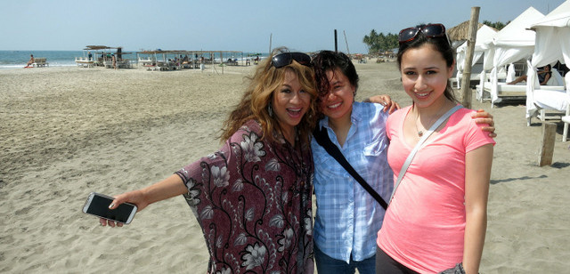Luisa with her daughters Kim and Zenia at Marbela Beach