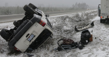 Esteras van lay along a ditch on Coquihalla highway. No one was injured.