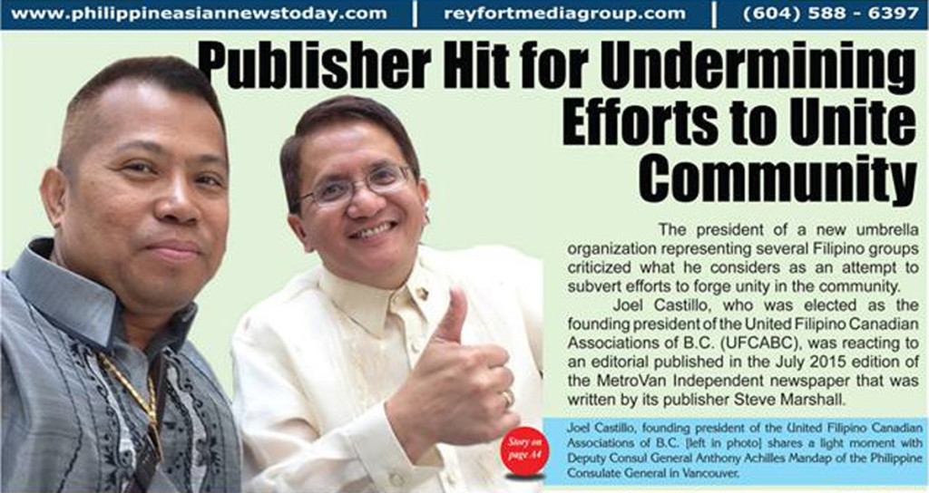 Rey Fortaleza's confusing June 2015 PNT front page headline with Deputy Consul Anton Mandap giving the thumbs up and appearing to approve the article.