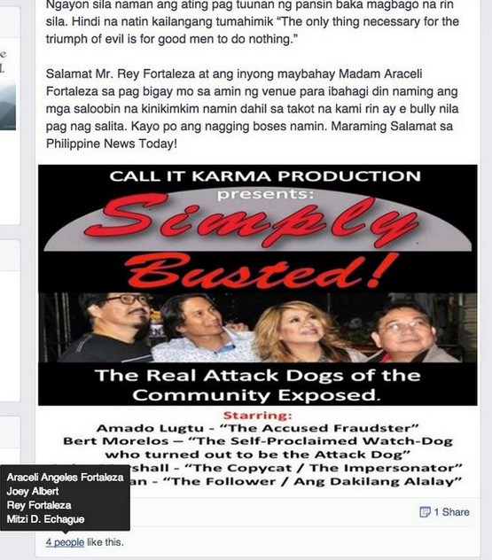 """Araceli Fortaleza allowed Cyber-Bullying from an unnamed coward against Luisa on her Facebook wall and """"liked"""" it along with Joey Albert and Rey Fortaleza."""