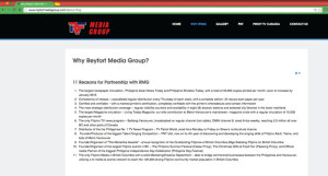 """Reyfort Media Group's page """"Why Reyfort Media Group?"""" on January 4/2016."""